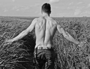 Starker Mann im Feld