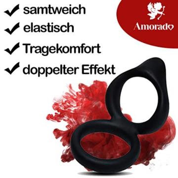 AMORADO Doppel - Penisring aus Silikon - Sexspielzeug für Männer zur Potenzsteigerung - Cockring mit doppeltem Effekt für eine längere und prallere Erektion - mit Samtbeutel - 2