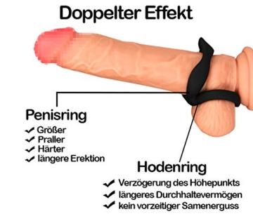 AMORADO Doppel - Penisring aus Silikon - Sexspielzeug für Männer zur Potenzsteigerung - Cockring mit doppeltem Effekt für eine längere und prallere Erektion - mit Samtbeutel - 3