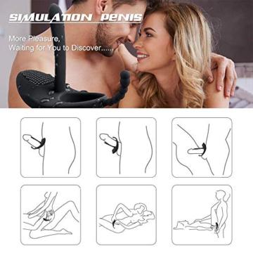 Penisring Vibratoren für Männer,Penis G-Punkt,Klitoris & Anal Pleasure, Silikon Cockring Vibrierend mit Klitorisstimulator, Langwährende Erektion, Double Orgasmus für Paare - 7